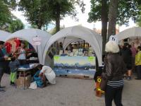 <p>Niive Nielsen sælger Cd&#039;er, plader og tøj efter deres fantastiske koncert. © Otto Motzfeldt</p>