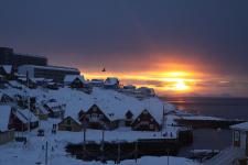 <h5>Nuuk</h5><p>© Erik Rosing. Ved Kolonihavnen. En vinterdag</p>
